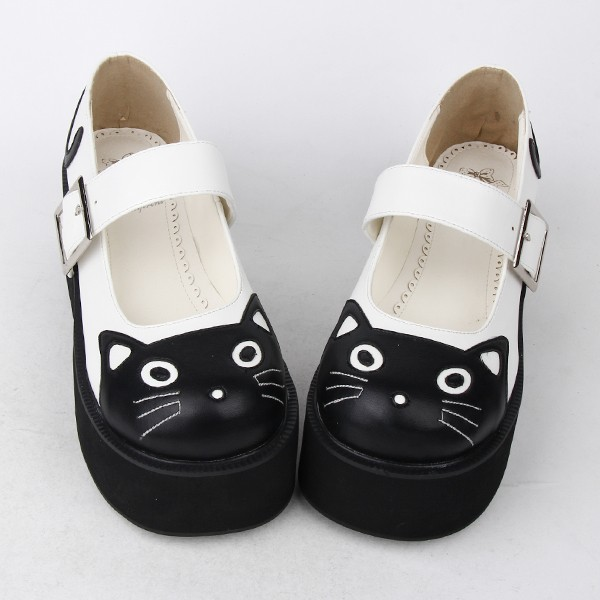 White Black Cat Face Mary Jane Lolita Cleated Sole Platforms Creepers Flats Shoes