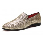 Gold Glitters Sparkles Mens Oxfords Loafers Dress Shoes Flats