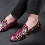 Red Floral Sequins Mens Oxfords Loafers Dress Shoes Flats