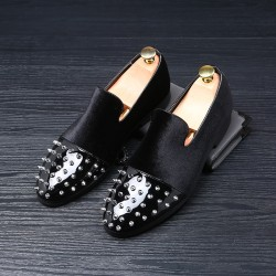 Black Velvet Metallic Spikes Studs Mens Oxfords Loafers Dress Shoes Flats