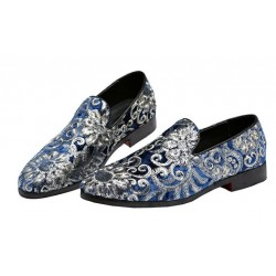 Blue Floral Sequins Mens Oxfords Loafers Dress Shoes Flats