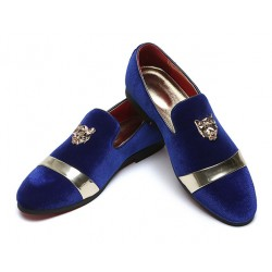 Blue Royal Velvet Gold Emblem Mens Oxfords Loafers Dress Shoes Flats