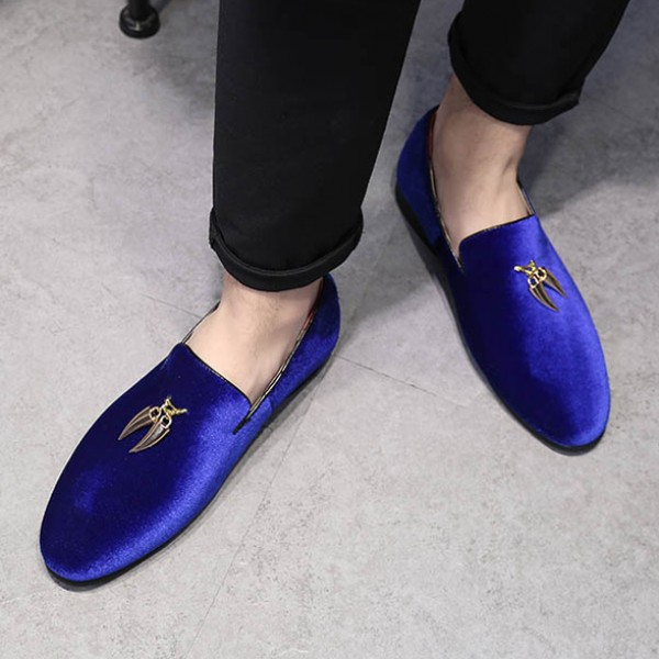Blue Royal Velvet Gold Horn Mens Oxfords Loafers Dress Shoes Flats