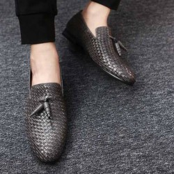 Grey Knitted Leather Tassels Mens Oxfords Loafers Dress Shoes Flats