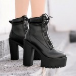 Black Lace Up Platforms Punk Rock Chunky Heels Boots Creepers Shoes