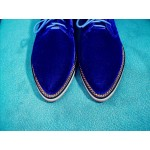 Blue Royal Velvet Gold Chain Point Head Lace Up Vintage Womens Oxfords Heels  Shoes