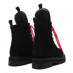 Black Suede Lace Up Punk Rock Combat Boots Shoes