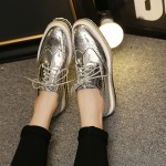 Silver Mirror Patent Leather Lace Up Platforms Wedges Oxfords Sneakers Shoes