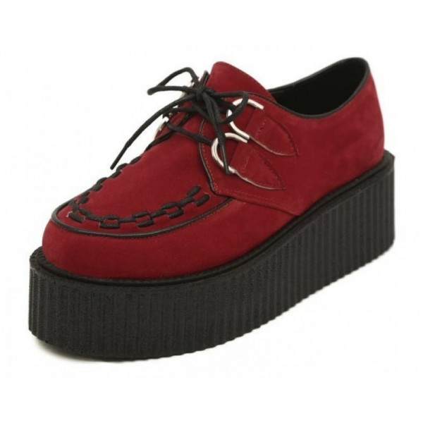 Red Suede Stitches Lace Up Platforms Creepers Oxfords Shoes
