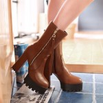 Brown Side Zipper Chunky Sole Block High Heels Platforms Boots Shoes