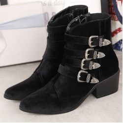 Black Velvet Point Head Buckle Straps Metal Studs Punk Rock Chelsea Boots Shoes