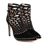 Black Suede Gladiator Hollow Out Bird Cage Stiletto High Heels Boots Shoes
