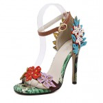 Rainbow Flowers Sexy High Heels Stiletto Sandals Shoes