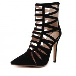 Black Suede Studs Hollow Out Bird Cage Stiletto High Heels Boots Shoes