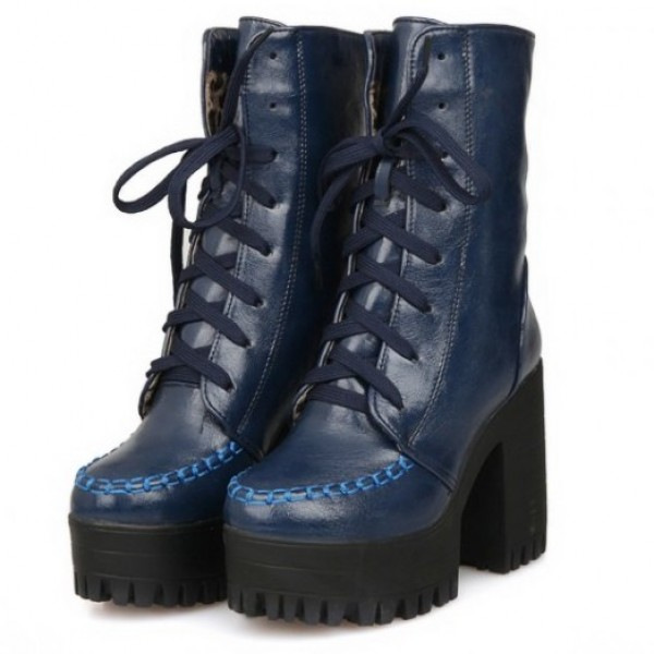 Blue High Top Lace Up Platforms Punk Rock Chunky High Heels Combat Boots Shoes