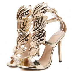 Gold Leaves Wings Hollow Cut Out High Heels Stiletto Sandals Shoes