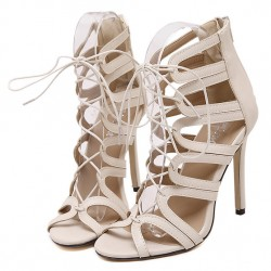 Khaki Lace Up Hollow Cut Out High Heels Stiletto Sandals Shoes