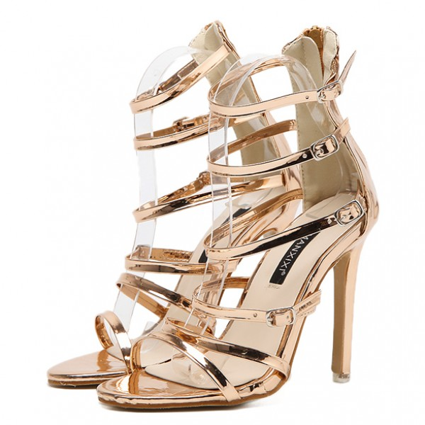 Gold Shiny Mirror Thin Straps Bridal Stiletto High Heels Sandals Shoes