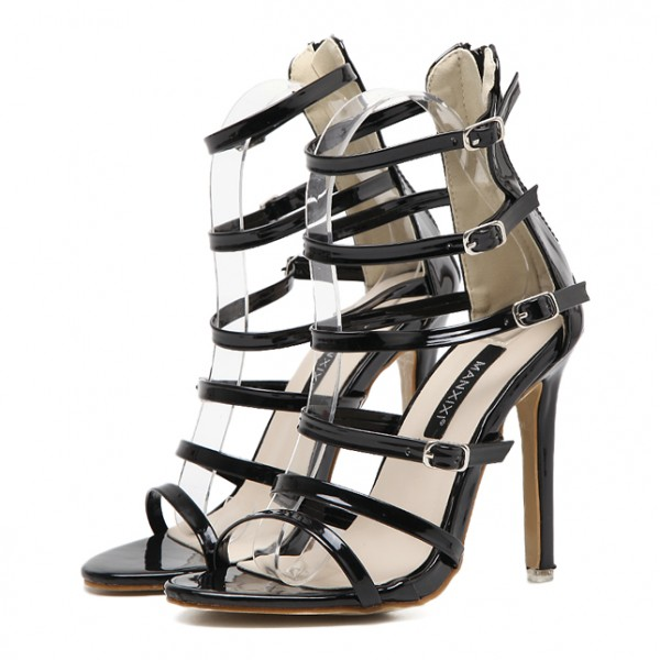 Black Patent Glossy Thin Straps Bridal Stiletto High Heels Sandals Shoes