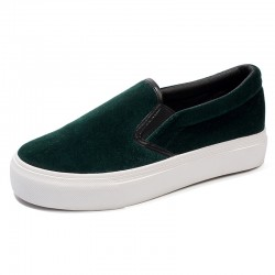 Green  Velvet Platforms Sole Womens Sneakers Loafers Flats Shoes