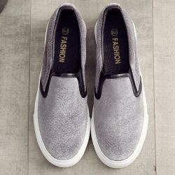 Grey Velvet Platforms Sole Womens Sneakers Loafers Flats Shoes