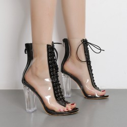 Transparent Black PU Peep Toe Lace Up High Heels Boots Shoes