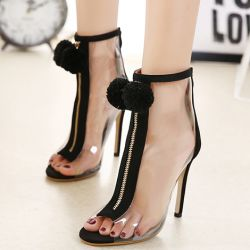 Transparent Black PU Peep Toe Pom Stiletto High Heels Boots Shoes