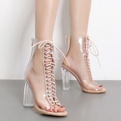 Transparent Khaki PU Peep Toe Lace Up High Heels Boots Shoes