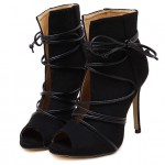 Black Suede Lace Up Peep Toe Strappy Stiletto High Heels Ankle Boots Shoes