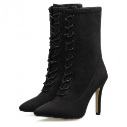 Black Point Head Mid Length Lace Up Rider Stiletto High Heels Boots Shoes