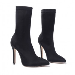 Black Stretchy Satin Point Head Mid Length Stiletto High Heels Boots Shoes