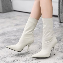 Cream Stretchy Satin Point Head Mid Length Stiletto High Heels Boots Shoes