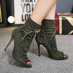 Green Suede Lace Up Peep Toe Strappy Stiletto High Heels Ankle Boots Shoes