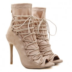 Khaki Suede Lace Up Peep Toe Strappy Stiletto High Heels Ankle Boots Shoes
