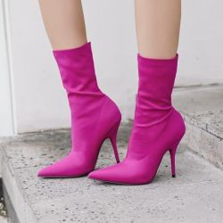 Purple Red Stretchy Satin Point Head Mid Length Stiletto High Heels Boots Shoes