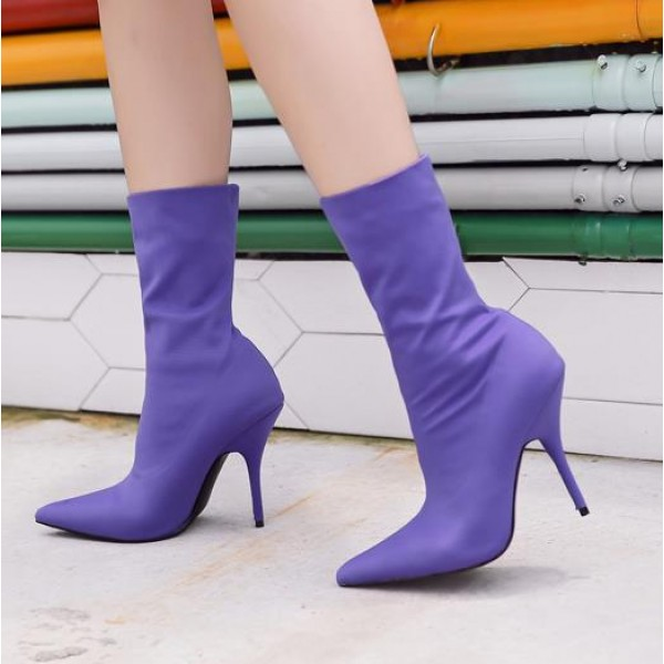 Purple Stretchy Satin Point Head Mid Length Stiletto High Heels Boots Shoes