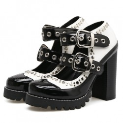 Black White Patent Studs Cleated Sole Chunky Block High Heels Mary Jane Shoes