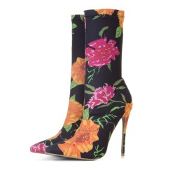 Black Floral Stretchy Point Head Ankle Stiletto High Heels Boots Shoes