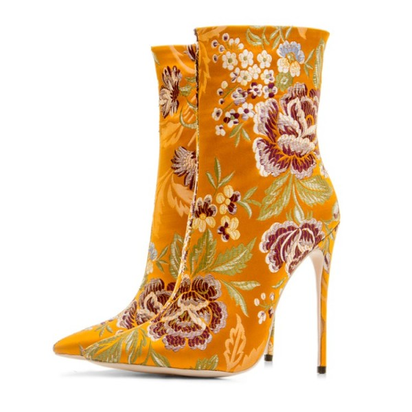 Yellow Satin Embroidered Floral Point Head Ankle Stiletto High Heels Boots Shoes