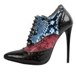 Black Multi Color Snake Skin Lace Up Oxfords Stiletto High Heels Boots Shoes