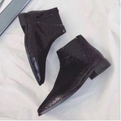 Black Grey Sequins Bling Bling Point Head Chelsea Ankle Boots Shoes