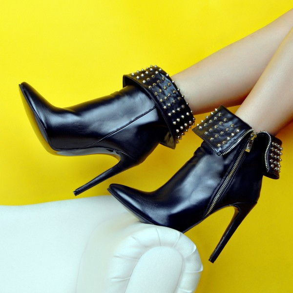 Black Metal Studs Punk Rock Fold Flap Stiletto High Heels Ankle Boots Shoes