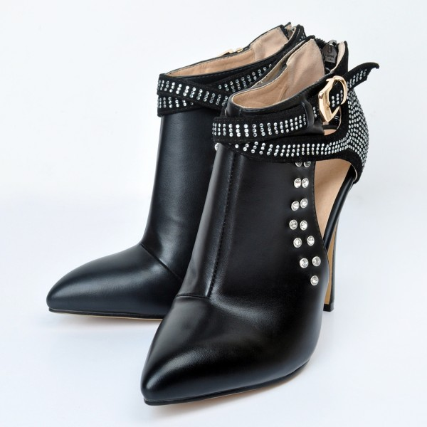Black Metal Studs Rhinestones Point Head Cross Straps Stiletto High Heels Ankle Boots Shoes