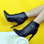 Black Strappy Grunge Punk Rock Stiletto High Heels Ankle Boots Shoes