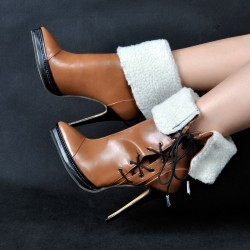 Brown Point Head Woolen Fold Flap Stiletto High Heels Rider Ankle Boots Shoes