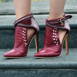 Burgundy Metal Studs Rhinestones Point Head Cross Straps Buckles Stiletto High Heels Ankle Boots Shoes