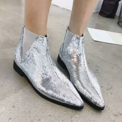 Silver Sequins Bling Bling Point Head Chelsea Ankle Boots Shoes