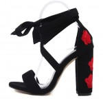 Black Suede Embroidered Red Rose Block Heels Strappy Sandals Shoes