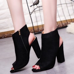Black Suede Peep Toe Slingback High Heels Ankle Boots Shoes