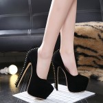 Black Suede Back Spike Platforms Super High Stiletto Heels Shoes